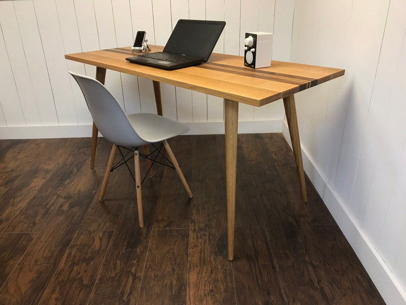 Mid Century Modern Desk Quartersawn White Oak With Walnut Etsy