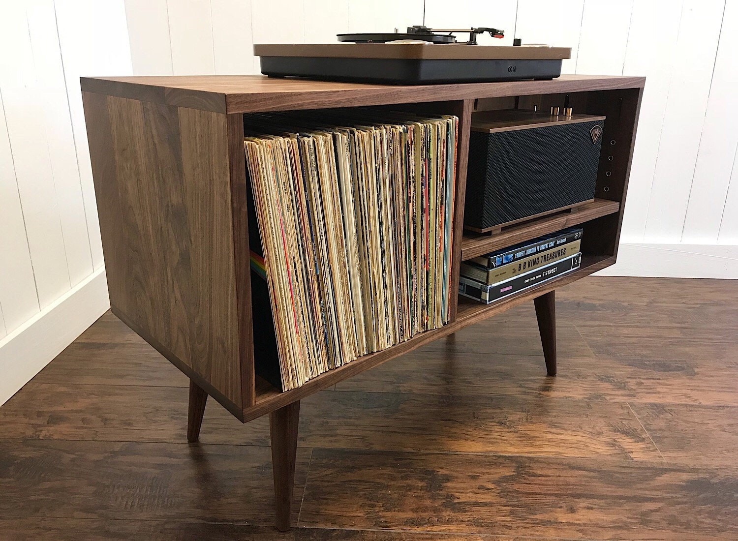 solid walnut turntable cabinet with album storage. mid century modern  stereo console with vinyl storage.