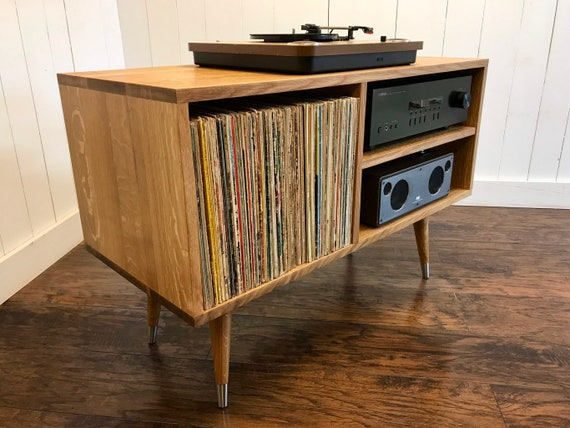turntable and stereo cabinet with album storage. mid century modern record  player console, quartersawn white oak.