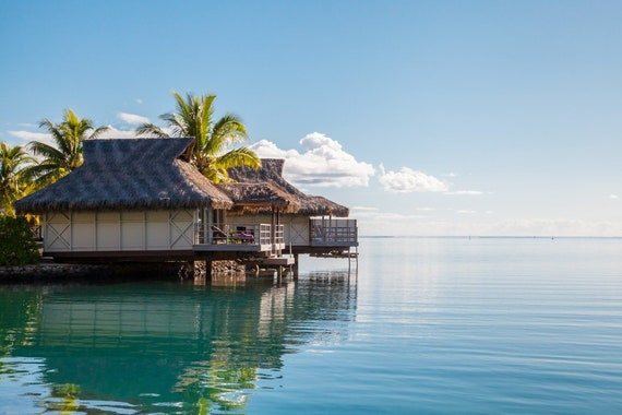 Moorea Photography Tahiti French Polynesia Lagoon Beach Overwater Bungalow Fine Art Photography Print Home Decor