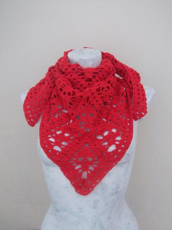 Rojo calavera ganchillo chal grande para la bufanda del cráneo