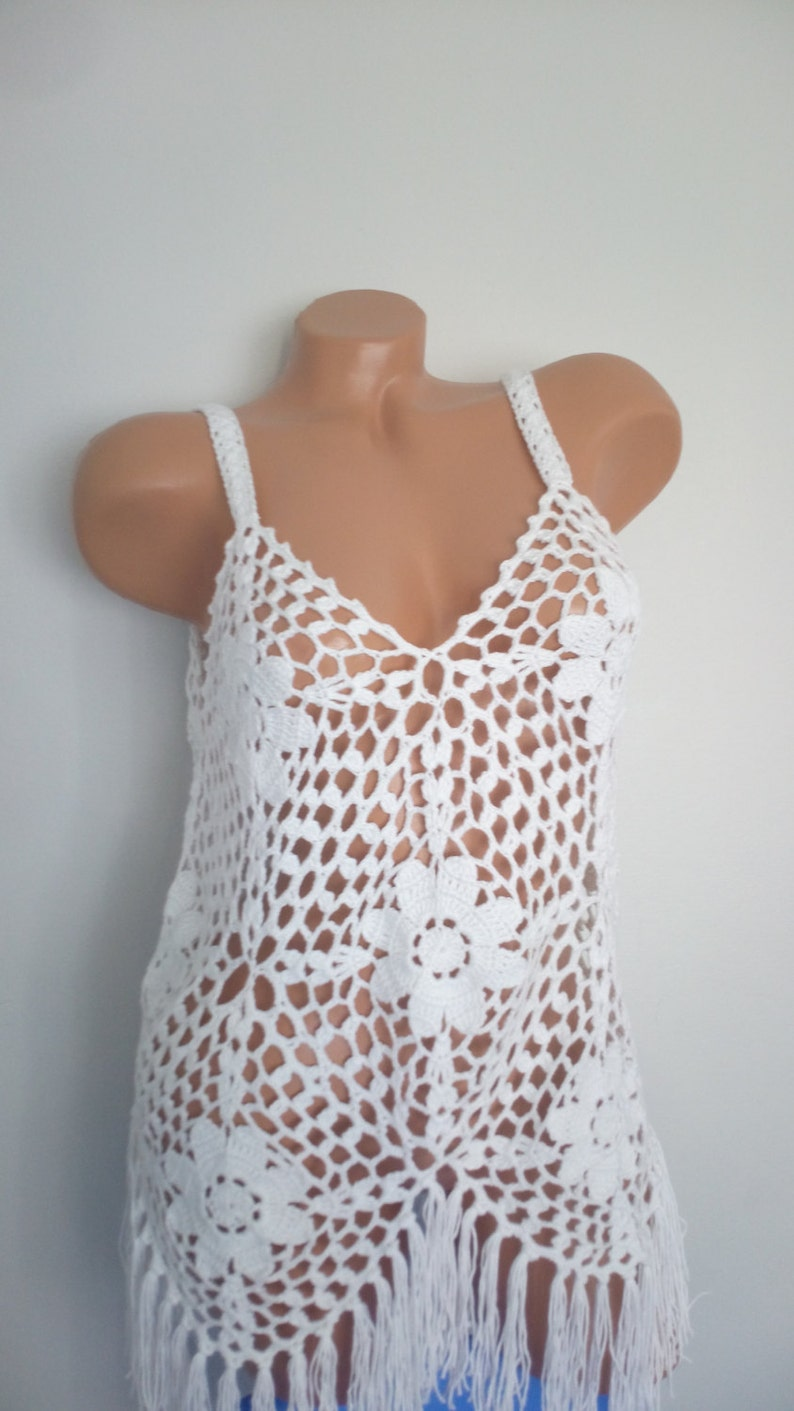 433128d9794 White handmade crochet bikini cover up Lace crochet Boho