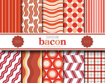 Bacon Digital Scrapbook Paper Red Stripes