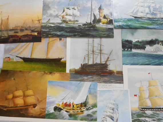 Ships sailboat art pack paper ephemera famous paintings boat images  seascapes craft supply for card making collage decoupage scrap book