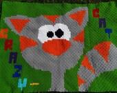 CRAZY CAT - crochet blanket children blanket, bedspread, baby blanket, playmat