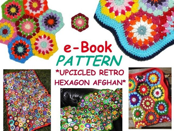 E Book Afghan Upcicled Retro Hexagon Crochet Pattern In Etsy