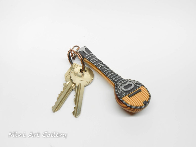 Bouzouki keychain, greek musical instrument mpouzouki, key ring miniature,  greek traditional music, fimo polymer clay handmade miniature