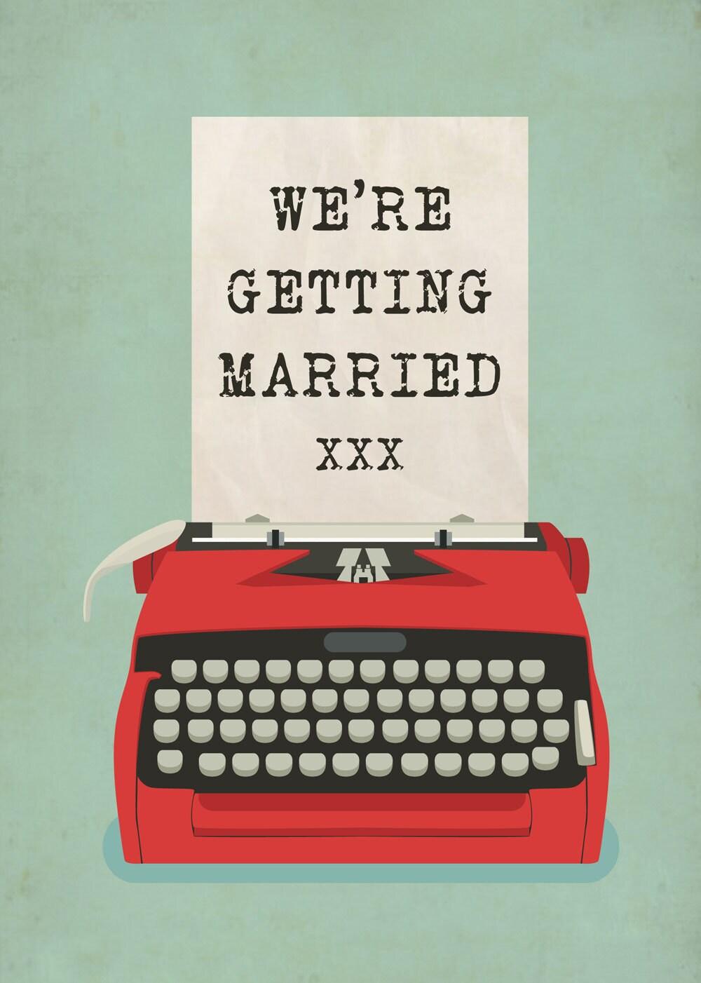 Typewriter themed Vintage Retro Style wedding invitation   Etsy