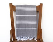 Turkish Towel Cotton PESHTEMAL Hammam Beach Towel Fouta Yoga Mat Hamam Towel Large Bath Towel Pareo Sarong Handwoven Grey and White HALFTONE