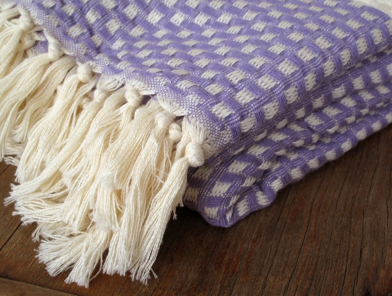 Bedspread Turkish Blanket Sofa Bed Cover Couch Throw Handwoven Cotton Sofa Throw Bed Blanket Mauve LILAC Extra Large 99 x 79