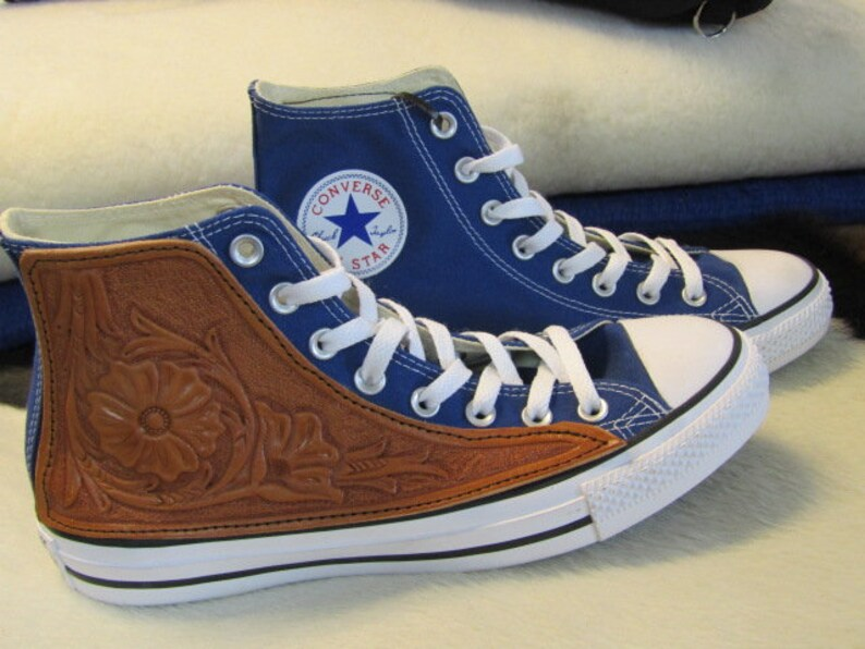 3992450f99a28 Converse high tops with tooled leather side panel
