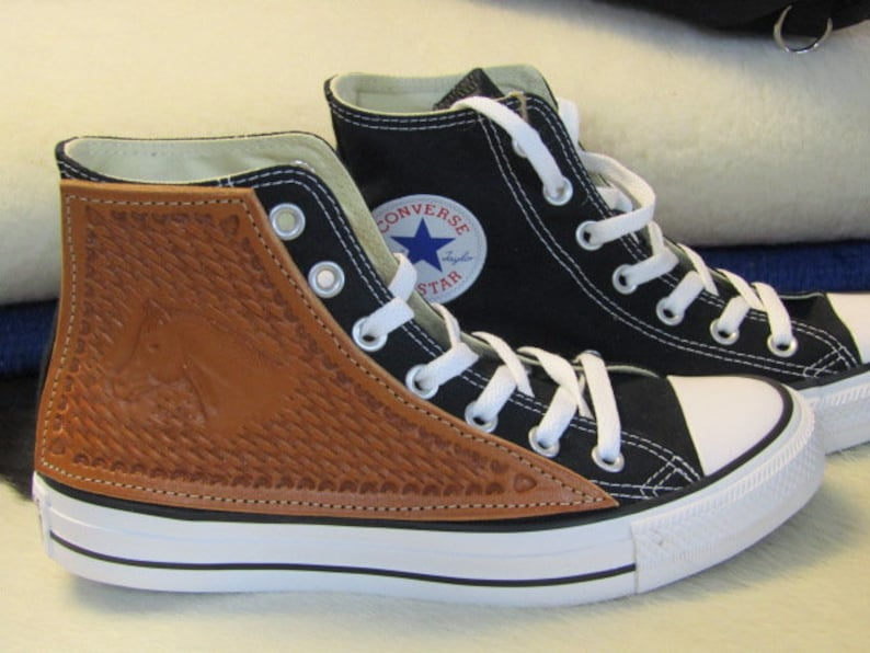 2c56f7b27b73c Converse high tops leather tooled side patch