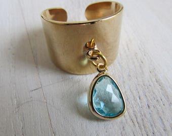 Ring band Gold crystal