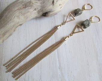 Earrings Pyrite and metal tassel