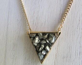 Triangle PYRITE necklace