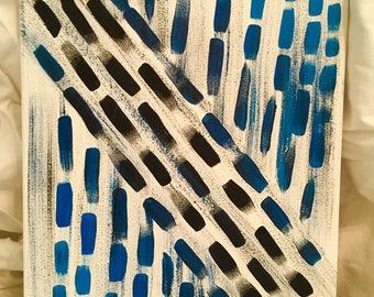 Peinture géométrique noir et bleu