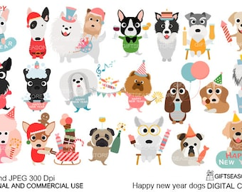 happy new year dogs digital clip art for personal and commercial use instant download