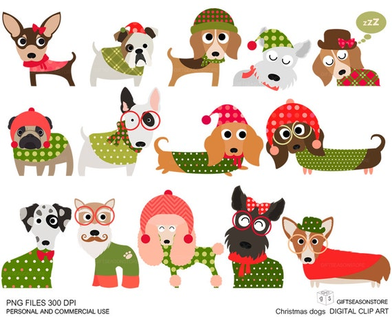 Christmas dog digital clip art part 1 for Personal and | Etsy