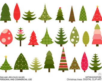 Christmas tree clip art for Personal and Commercial use - INSTANT DOWNLOAD