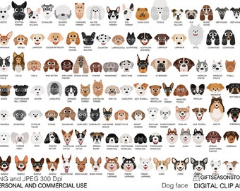 Dog face digital clip art for Personal and Commercial use - INSTANT DOWNLOAD