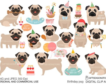 Birthday pug digital clip art for Personal and Commercial use - INSTANT DOWNLOAD