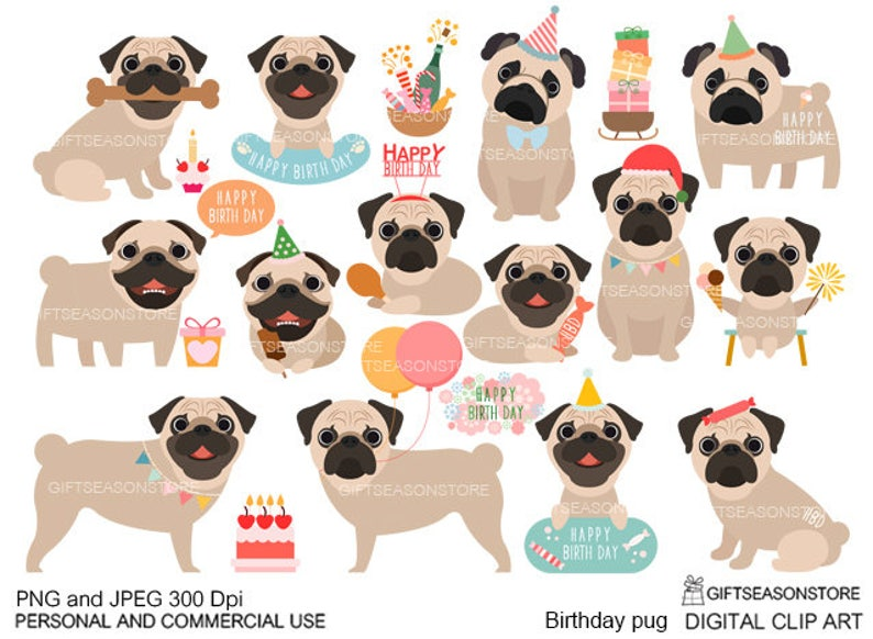 Birthday Pug Digital Clip Art For Personal And Commercial Use