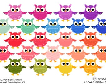 Polka dot Stitch owls Digital clip art for Personal and Commercial use - INSTANT DOWNLOAD