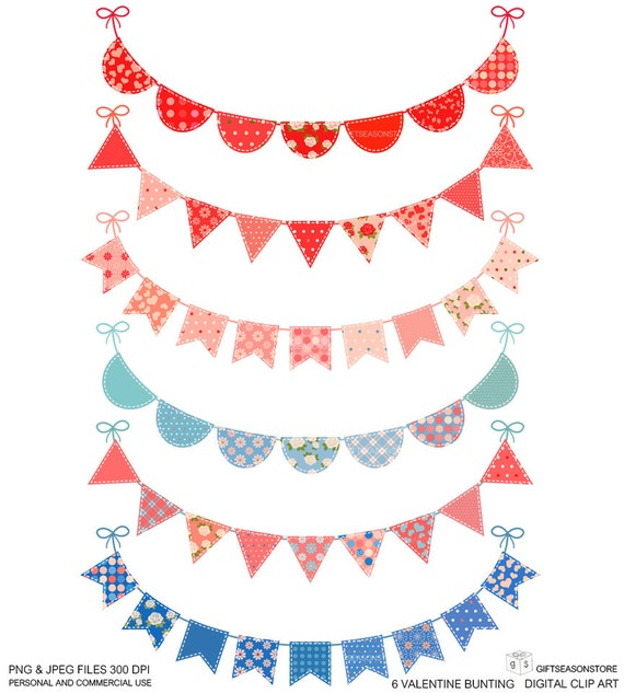 6 Valentine Bunting Digital clip art for Personal and Commercial use - INSTANT DOWNLOAD