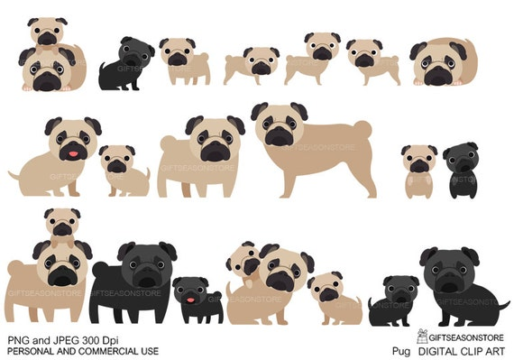 Gay pride pug digital clip art for Personal and by