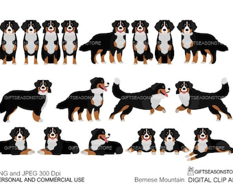 Bernese Mountain Dogs  digital clip art for Personal and Commercial use - INSTANT DOWNLOAD