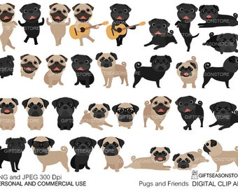 Pugs and Friends Digital clip art for Personal and Commercial use - INSTANT DOWNLOAD