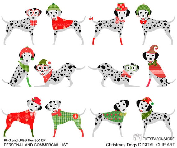 Christmas dog digital clip art part 5 for Personal and Commercial use - INSTANT DOWNLOAD