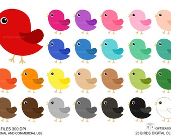 25 Birds Digital clip art for Personal and Commercial use - INSTANT DOWNLOAD