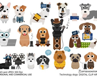 Technology dogs Digital clip art for Personal and Commercial use - INSTANT DOWNLOAD