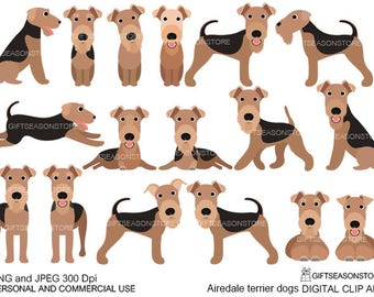 Airedale Terrier dogs digital clip art for Personal and Commercial use - INSTANT DOWNLOAD