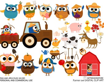 Farmer owl clip art for Personal and Commercial use - INSTANT DOWNLOAD