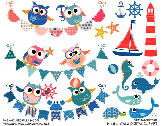 Nautical owl clip art for Personal and Commercial use - INSTANT DOWNLOAD