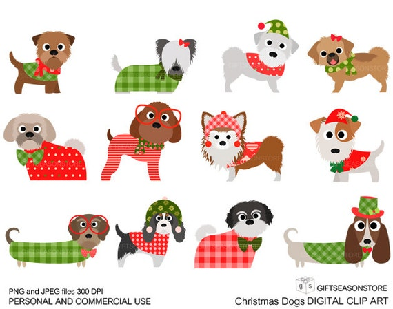 Christmas dog digital clip art part 3 for Personal and | Etsy