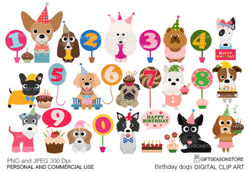 Birthday Dogs Digital Clip Art For Personal And Commercial Use
