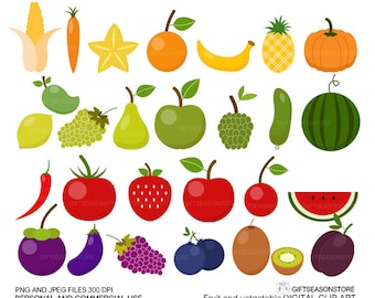 Fruit and Vegetable clip art for Personal and Commercial use - INSTANT DOWNLOAD