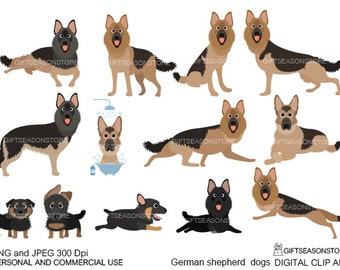 German shepherd dogs digital clip art for Personal and Commercial use - INSTANT DOWNLOAD