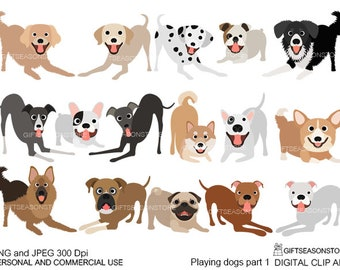Playing dogs part 1 digital clip art for Personal and Commercial use - INSTANT DOWNLOAD