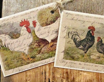Rustic Rooster & Hen Hang Tags