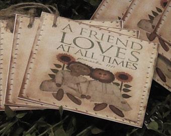 Primitive Friend's Love Hang Tags