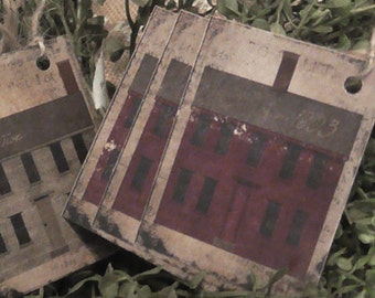 Primitive House 1803 Red & Grey Hang Tags