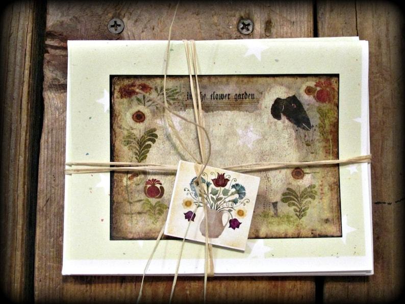 Sheep Floral Garden Note Cards