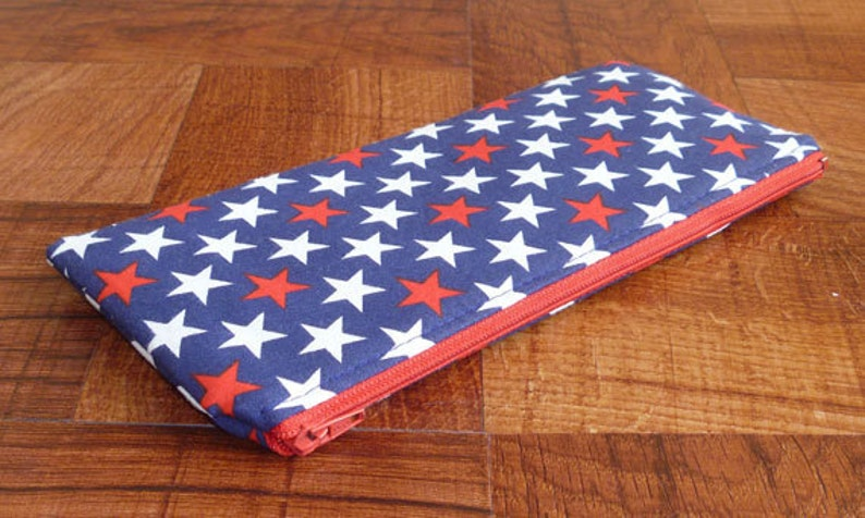 Pencil Case/Coupon Holder  Red White & Blue Stars image 0