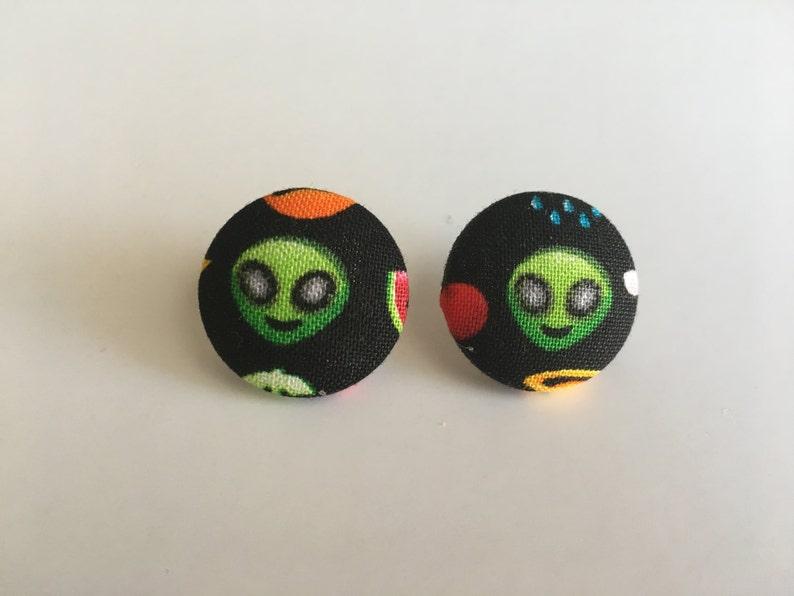 Alien Button Earrings image 0