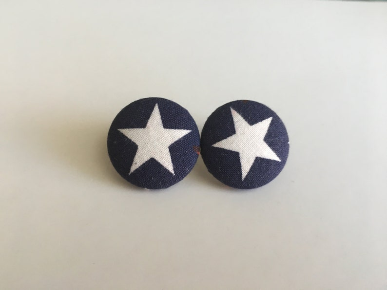 Star Fabric Button Earrings image 0