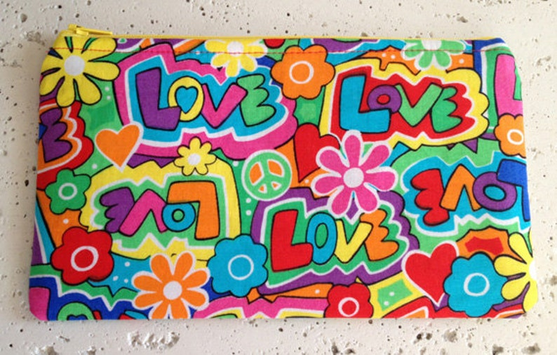 Peace and Love Gadget Pouch/Zipper Pouch image 0